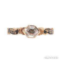 Gold, Black Enamel, and Crystal Memento Mori Ring