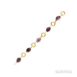 Art Deco 18kt Gold and Amethyst Bracelet, Marzo
