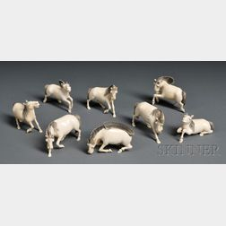 Set of Eight Ivory Carvings