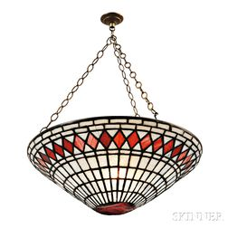 Mosaic Glass Hanging Lamp Attributed to Tiffany