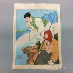 Paul Jacoulet (1902-1960), Bergers des Hautes Montagnes Coree