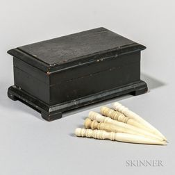 Miniature Black-painted Box with Five Turned Bone Bodkins