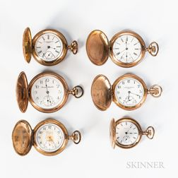 Six American Gold-filled Hunter-case Pocket Watches
