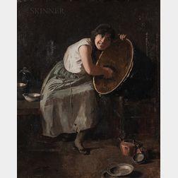 Emil Carlsen (Danish/American, 1853-1932)      Portrait of a Maid