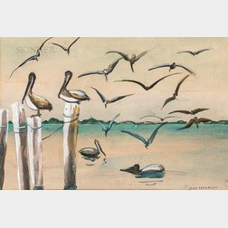 Jane Peterson (American, 1876-1965)      Pelicans