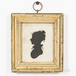 "Framed Hollow-cut Silhouette of Girl and a Framed ""Mary Cook"" Needlework Sampler"