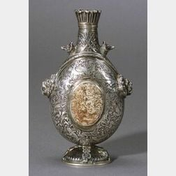 Continental Silver Hardstone and Crystal Mounted Bottle
