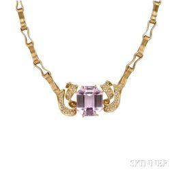 18kt Gold, Kunzite, and Diamond Necklace