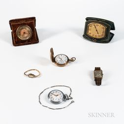 Four Watches and Two Travel Clocks