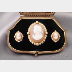 Antique 18kt Gold, Hardstone Cameo, and Pearl Suite