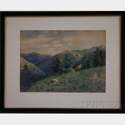 C. Myron Clark (American, 1858-1925)      Lot of Two Framed Watercolors:   Lake View