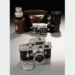 Leica M3 Camera Body, Three Lenses, and a Rollei 35