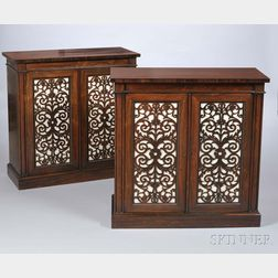 Pair of Victorian Rosewood Library Cabinets