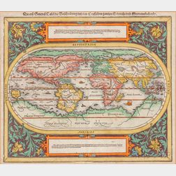 World Map. Sebastian Münster (1488-1552) Die Erst General Tafel / Die Beschreibung und den Circkel des Gantzen Erdtrichs und Meers Innh