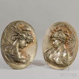 Pair of Art Nouveau Cast White Metal Wall Plaques of Maidens