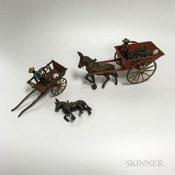 Two Polychrome Cast Iron Mule Carts