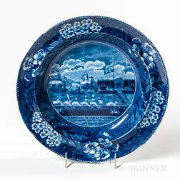 Staffordshire Historical Blue Transfer-decorated Landing of Lafayette Soup Plate