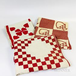 Three Pieced and Appliqued Red and White Cotton Quilts