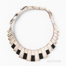 House of Monteros Sterling and Onyx Necklace