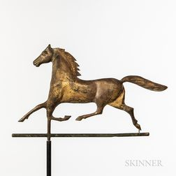 Molded Sheet Copper and Zinc Trotting Horse Weathervane