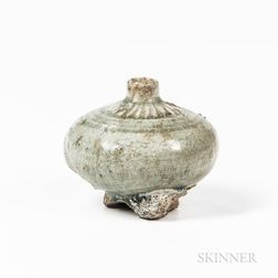 Celadon-glazed Stoneware Oil Bottle
