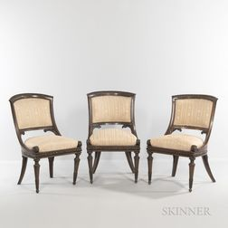 Three Carved Fruitwood Neoclassical Side Chairs