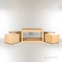 Modern Blonde Oak Laminate Table and Four Cubes