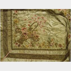 Embroidered Damask and Velvet Bed Covering