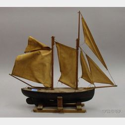 Folk Painted Wooden Two-Masted Sailboat Model on Stand