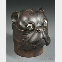 Carved Hardwood Humidor in the Form of a Bulldog Head
