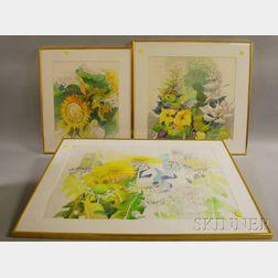 Denise Schwander (Swiss, b. 1945)      Three Works: Sunflowers ,  Mullein