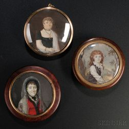 Three Portrait Miniatures on Ivory