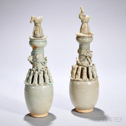 Two Qingbai Burial Jars and Covers