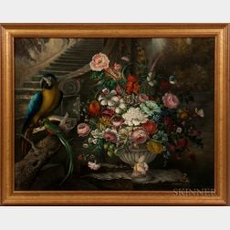 Arthur Lasslow (American, Mid-20th Century)      Dutch-style Still Life with Flowers and Birds