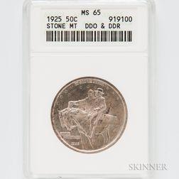 1925 DDO and DDR Stone Mountain Commemorative Half Dollar, ANACS MS65.     Estimate $100-200