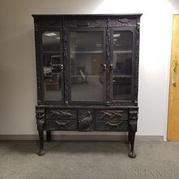 Ebonized Oak Carved Display Cabinet