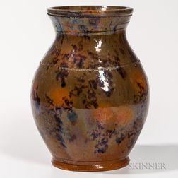 Mottled Glaze Redware Jar