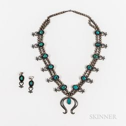 Navajo Silver and Turquoise Squash Blossom Necklace with Matching Earrings