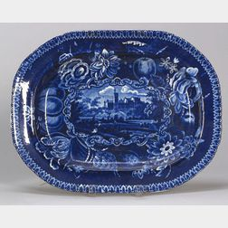 Blue Transfer Decorated Staffordshire Platter