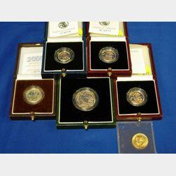 Six United Kingdom Gold Proof Coins