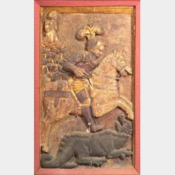 Continental Carved Fruitwood and Gesso Architectural Panel of St. George