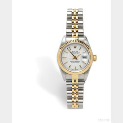 """Lady's 18kt Gold and Stainless Steel """"Oyster Perpetual Datejust"""" Wristwatch, Rolex"""