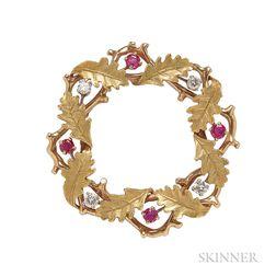 18kt Gold, Ruby, and Diamond Wreath Brooch, Raymond Yard