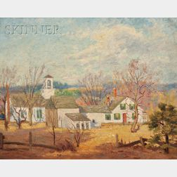 Attributed to Gerrit Albertus Beneker (American, 1882-1934)      Cape Cod Landscape with House in Spring