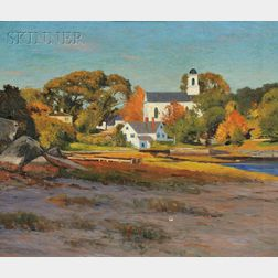 George Wainright Harvey (American, 1855-1930)      Autumn Afternoon, Annisquam Church