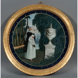Reverse-painted Glass Mourning Picture