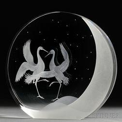 James Houston for Steuben Dancing Cranes   Sculpture