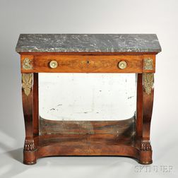Neoclassical Marble-top Rosewood Pier Table