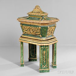 Neoclassical-style Painted and Parcel-giltwood Casket