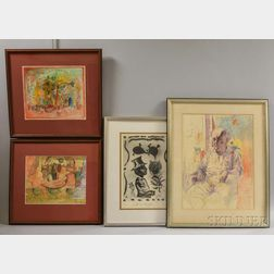 Noel Rockmore (American, 1928-1995) Four Framed Works on Paper: Study of Bill Russell from Life, Taffes Patio, Untitled Cafe View, and